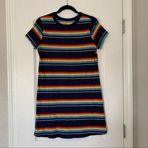 So Rainbow Stripe Short Sleeve Dress